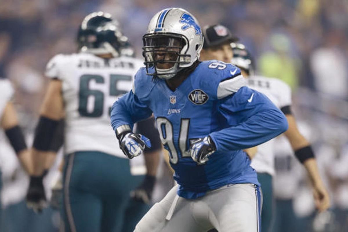 """FILE - In this Nov. 26, 2015, file photo, Detroit Lions defensive end Ezekiel """"ZIggy"""" Ansah (94) celebrates after a play during an NFL football game against the Philadelphia Eagles in Detroit. The Lions have potential stars in each position group on defen"""