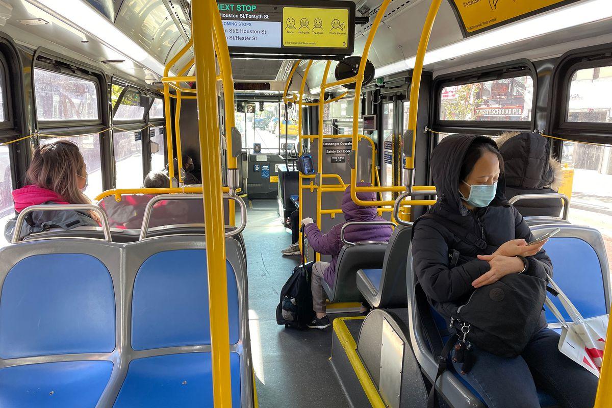 Riding an M15 express bus down Second Avenue in Manhattan, Nov. 18, 2020.