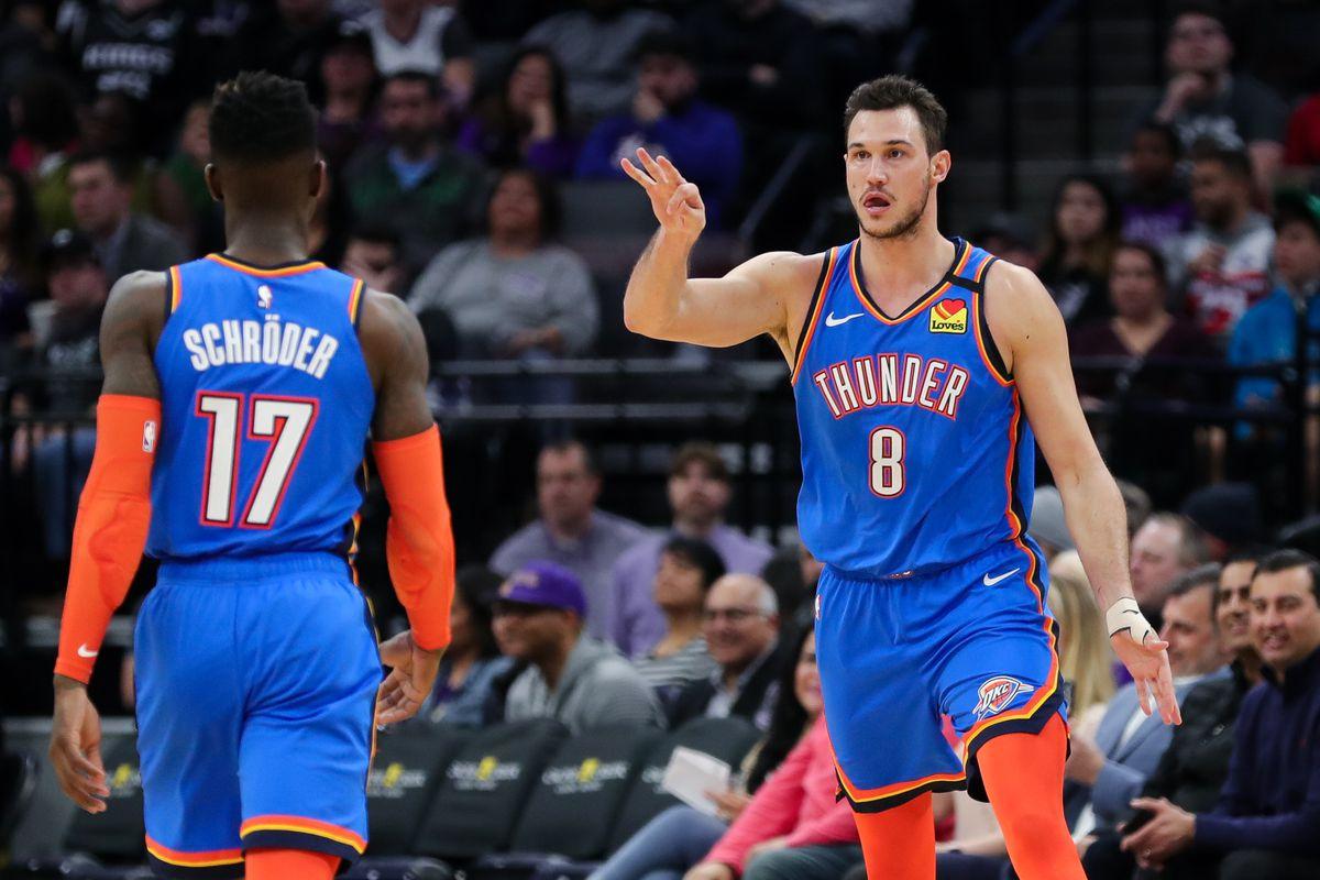 Oklahoma City Thunder forward Danilo Gallinari celebrates with guard Dennis Schroder after a basket during the third quarter against the Sacramento Kings at Golden 1 Center.