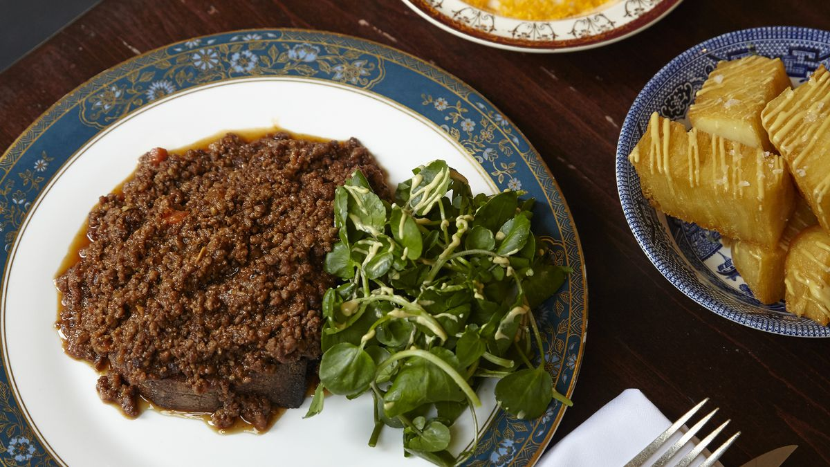 """Mince on toast at the Quality Chop House, one of London's foremost exponents of """"modern British"""""""