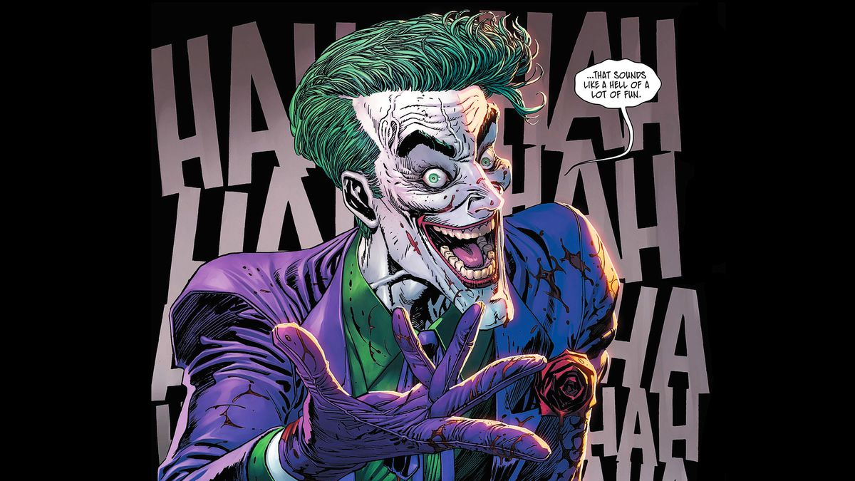 """""""...that sounds like a hell of a lot of fun,"""" says a blood-splattered Joker on a background of dozens of HAs, in Batman #85, DC Comics (2019)."""