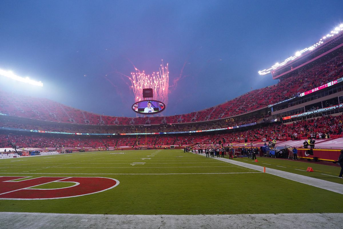 A general view of the field before the game between the Kansas City Chiefs and the Houston Texans at Arrowhead Stadium.