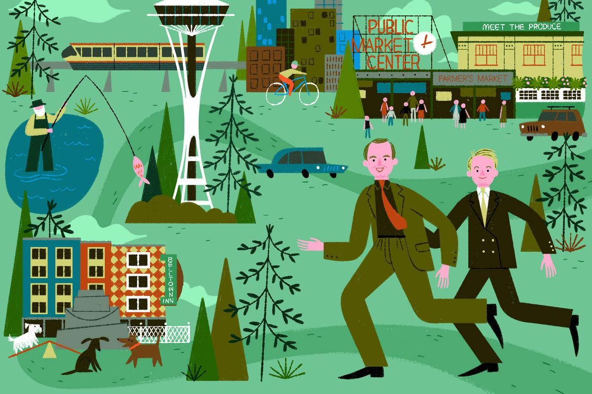 An illustration of two men in suits running, surrounded by icons of buildings, trees, a train, and a pond.