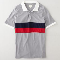 """<strong>Band of Outsiders</strong> Panel Stripe Polo in Open Grey, <a href=""""http://www.stevenalan.com/S14_NA_S14-BM5O0036.html?dwvar_S14__NA__S14-BM5O0036_color=OPEN%20GREY#cgid=mens-clothing-tshirts&frmt=ajax&view=all&start=0&hitcount=63"""">$135</a> at Ste"""