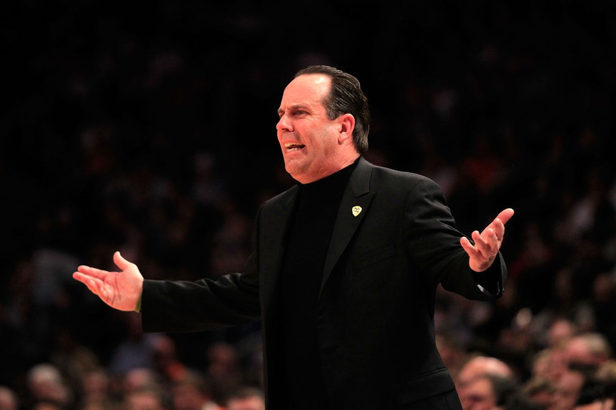 Notre Dame head coach Mike Brey is exuberantly confused.