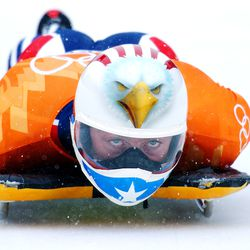 Jim Shea takes his first run prior to his gold medal finish in skeleton Feb. 20, 2002.