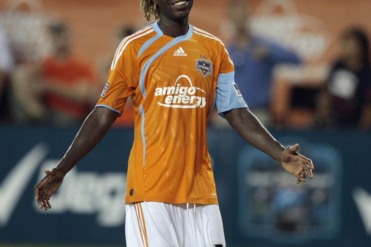HOUSTON - JULY 15:  Joseph Ngwenya #33 reacts as the final whislte blows as the Houston Dynamo defeated Pachuca CF 2-1 on two goals from Ngwenya at Robertson Stadium on July 15 2010 in Houston Texas.  (Photo by Bob Levey/Getty Images)