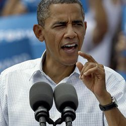 President Obama campaigns at a rally Saturday, Sept. 8, 2012, in Seminole, Fla.