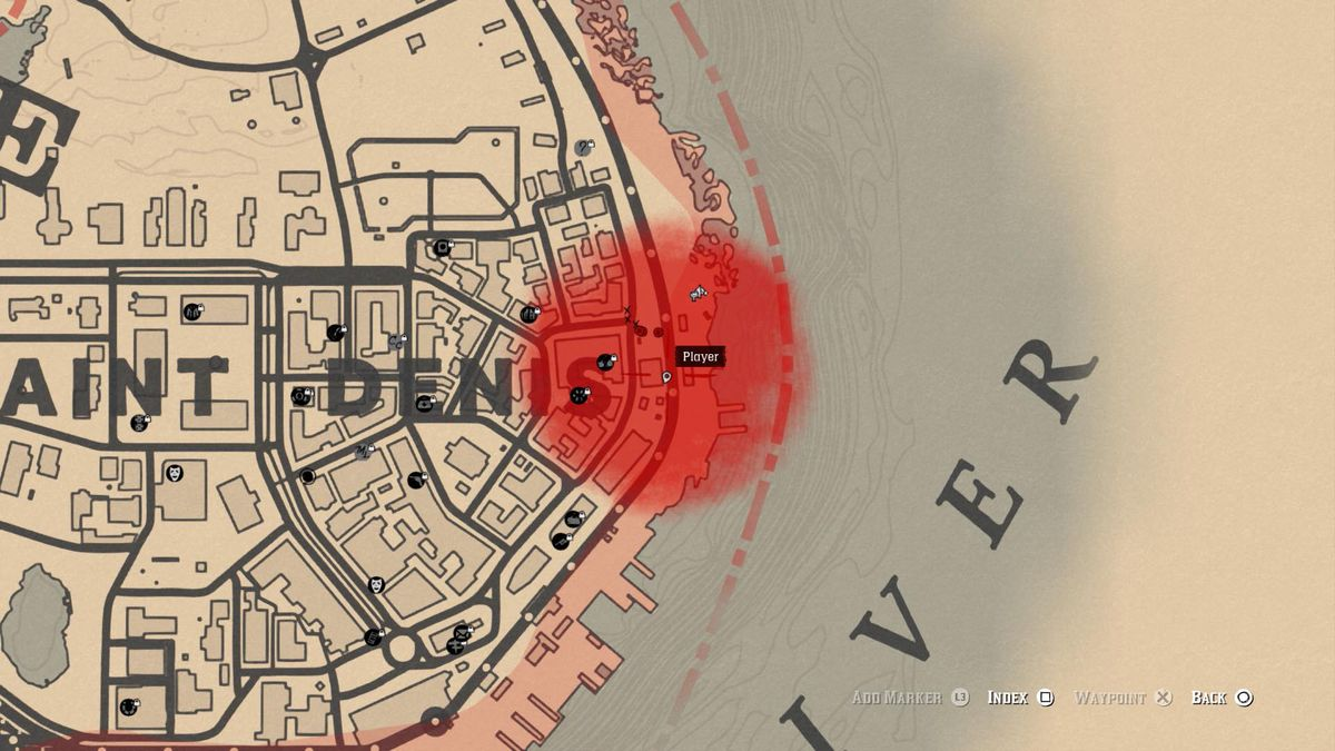 A red cloud appears on your map to show where the cops are looking for you.