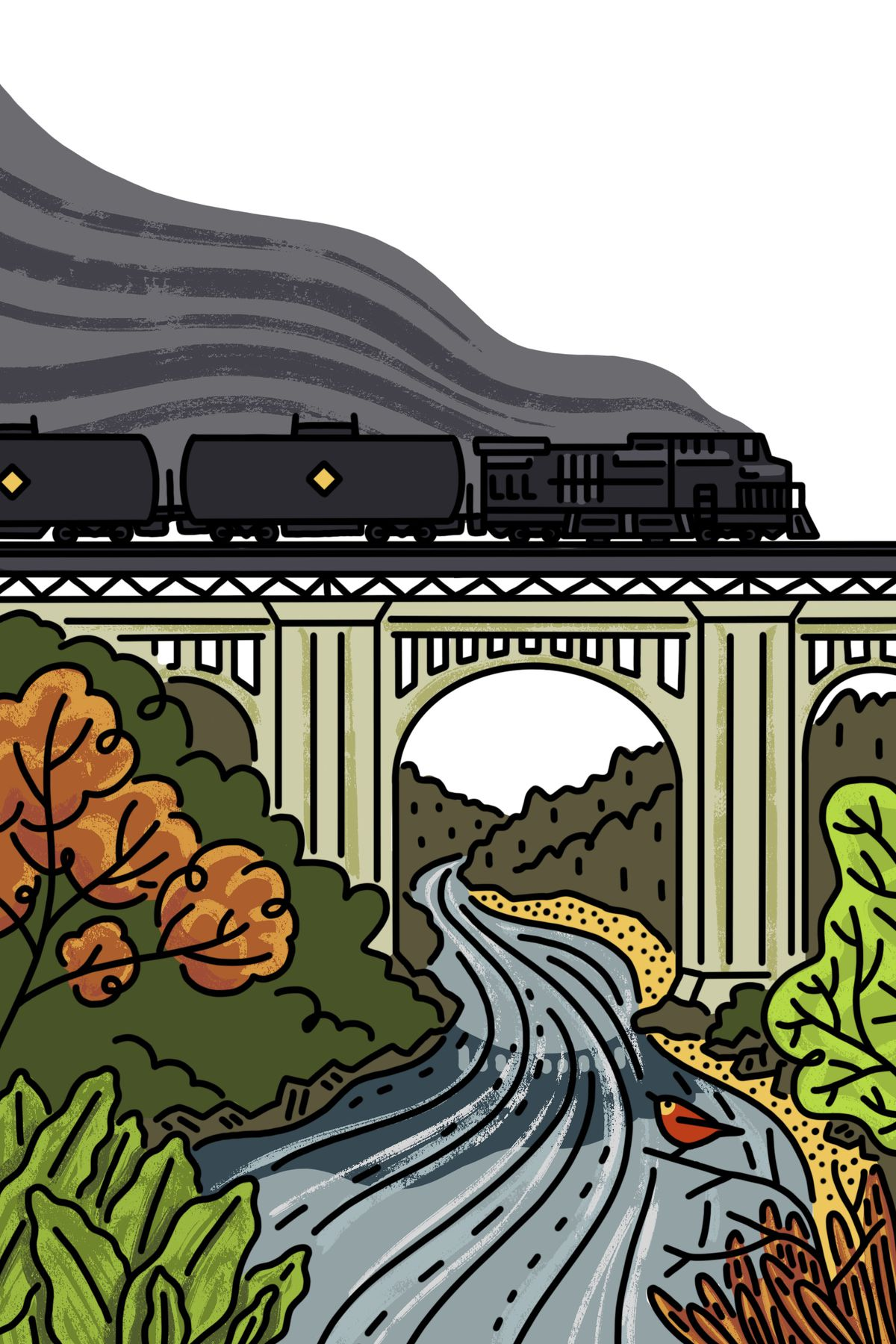 A train emitting a lot of smog and pollution travels on a bridge over a river. Illustration.