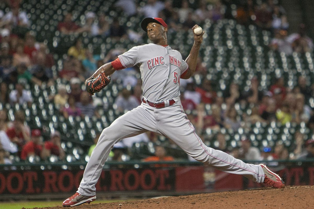 HOUSTON,TX-JUNE 02:  Aroldis Chapman #54 of the Cincinnati Reds throws in the ninth inning against the Houston Astros on June 2, 2012 at Minute Maid Park in Houston, Texas.(Photo by Bob Levey/Getty Images)