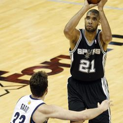 San Antonio Spurs power forward Tim Duncan (21) aims as Memphis Grizzlies center Marc Gasol (33) defends during the second half in Game 3 of the Western Conference finals NBA basketball playoff series, Saturday, May 25, 2013, in Memphis.