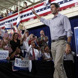 Republican vice presidential candidate, Rep. Paul Ryan, R-Wis. arrives at a campaign event at the Westlake Recreation Center, Tuesday, Sept. 4, 2012 in Westlake, Ohio.