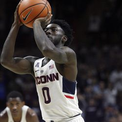 UConn's Antwoine Anderson (0) during the Columbia Lions vs UConn Huskies men's college basketball game at Gampel Pavilion in Storrs, CT on November 29, 2017.