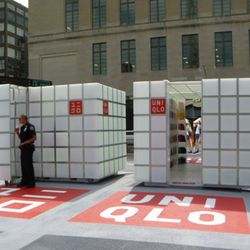 Uniqlo's cube-shaped pop-up shops.