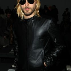 2009: Looking like Kurt Cobain (in most likely a woman's leather jacket, again) at the Calvin Klein's men show.