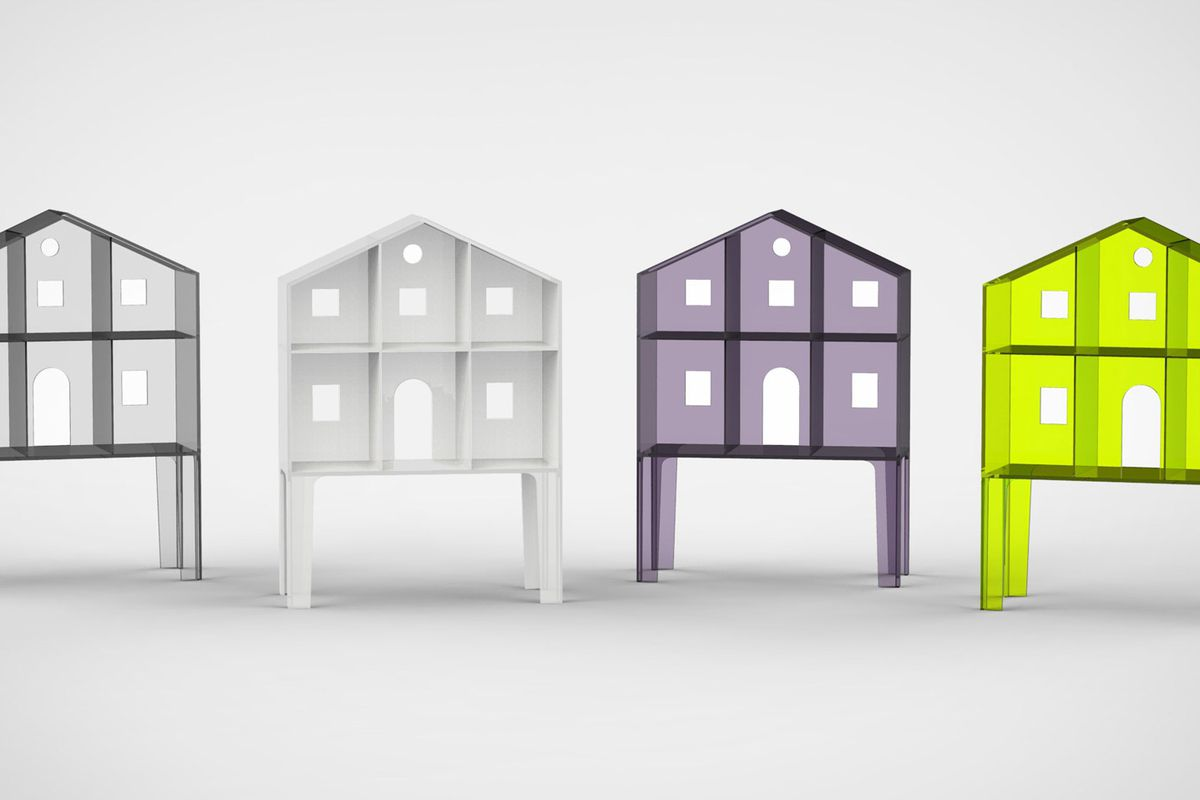 A row of four simple, two-story dollhouses made of translucent plastic in gray, white, purple, and neon green.
