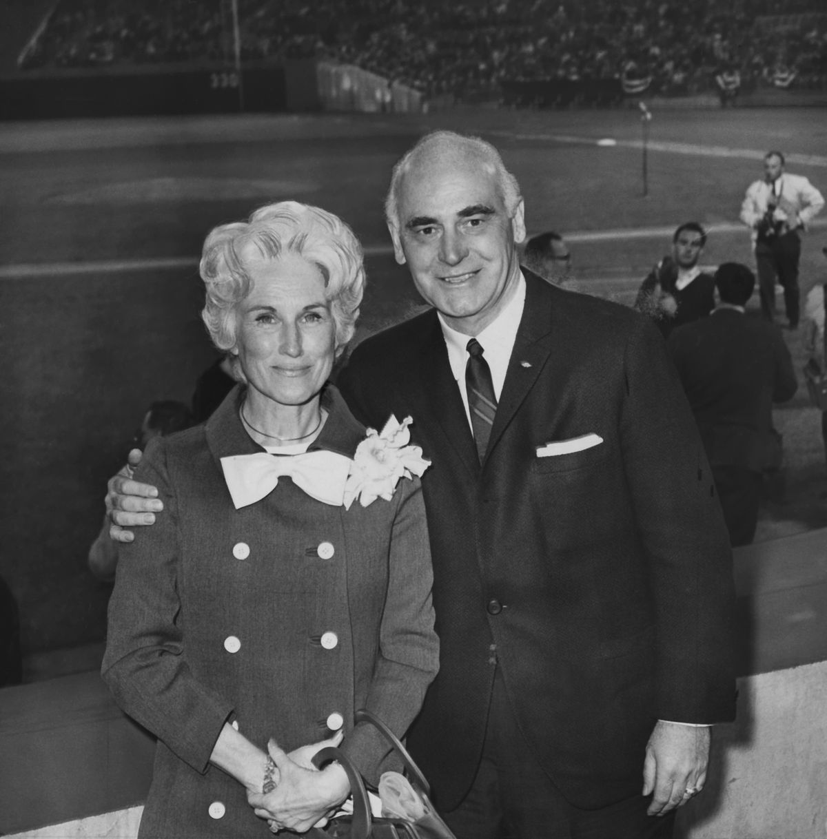 Oakland, CA April 17, 1968 - Mr. and Mrs. Charlie O. Finley attend the A's first game at the Oakland Coliseum. (Jim Edelen / Oakland Tribune Staff Archives)