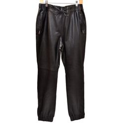 Black pair of leather track pants
