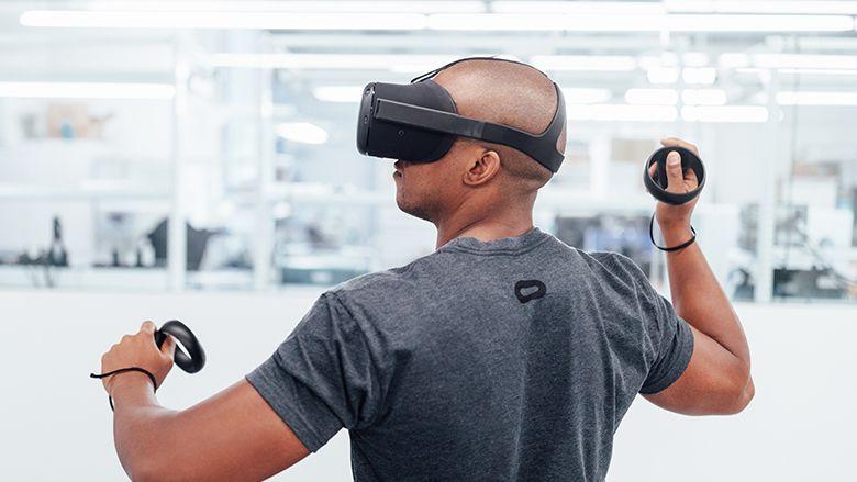 Person using Santa Cruz VR headset