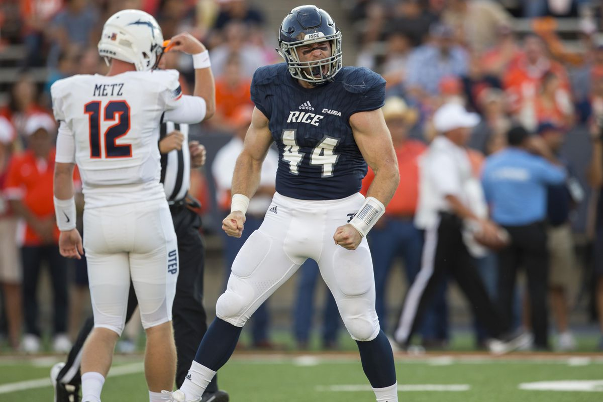 Rice Owls defensive end Brian Womac celebrates after a defensive stop  behind the line against the UTEP Miners. Rice will meet Houston for the  Bayou Bucket ...