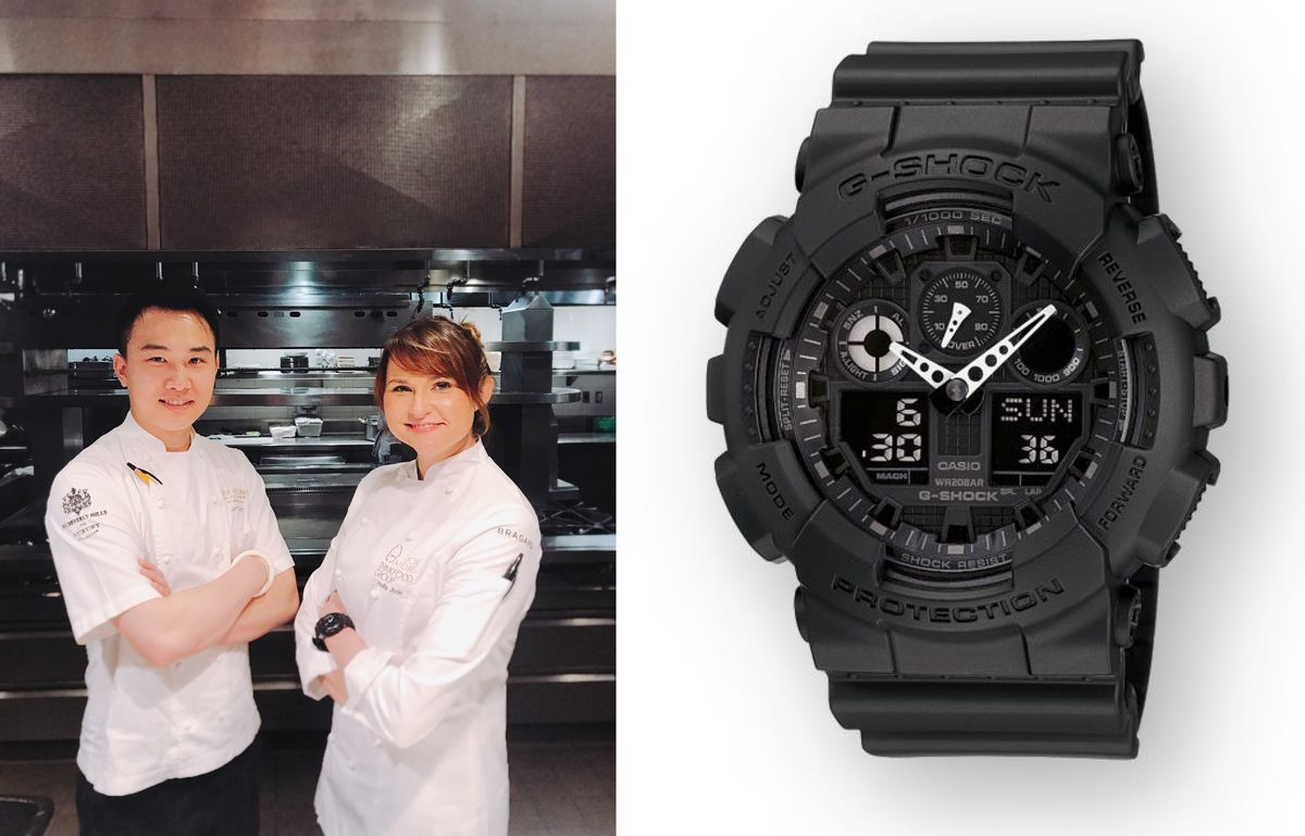 Holly Jiven (right) next to Bazaar souf chef Jeff Chen. To the right, a close up of Jiven's Casio G-Shock