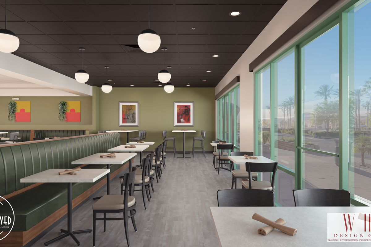 A rendering of a restaurant dining room