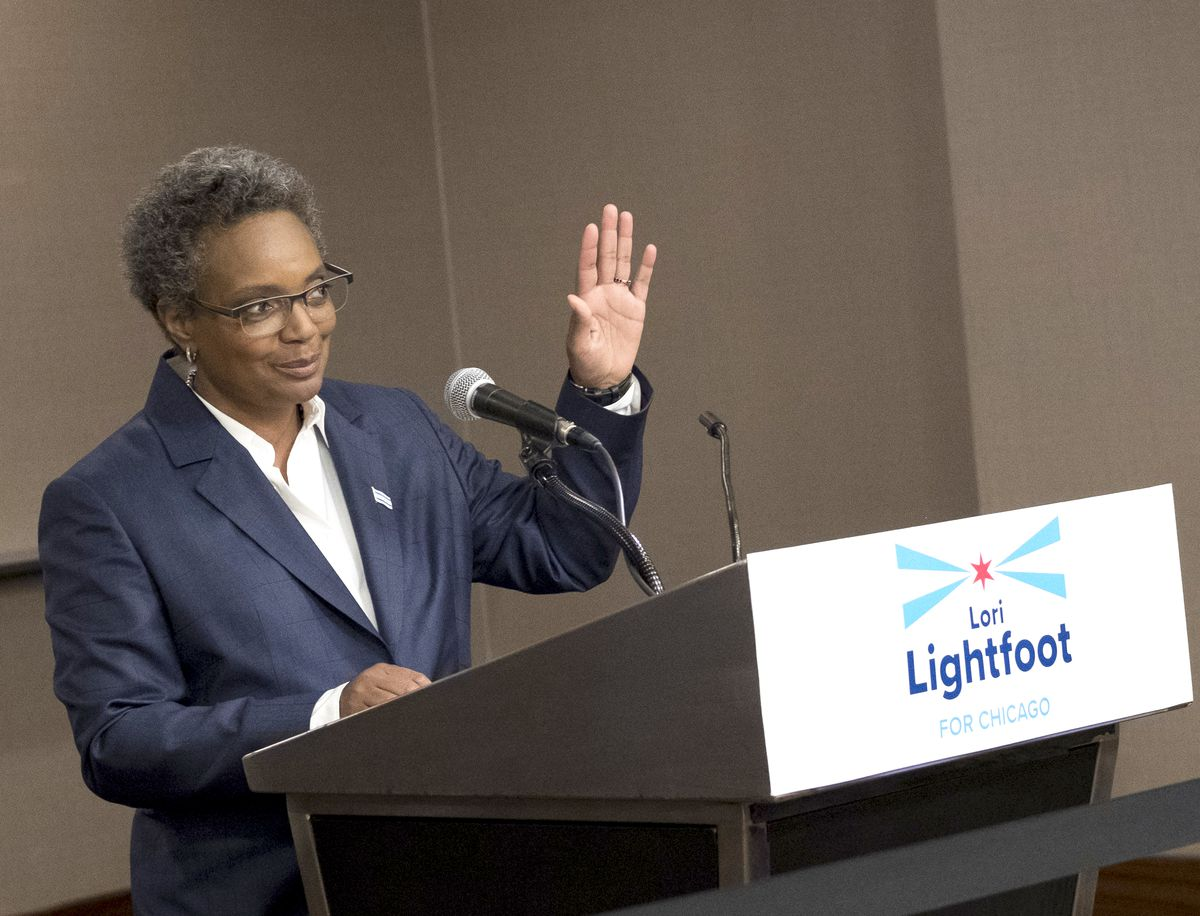 Lori Lightfoot's announcement that she is running for mayor of Chicago drew a small but enthusiastic crowd of friends and supporters to the Hyatt Regency in downtown Chicago on Thursday. | Rick Majewski/For the Sun-Times