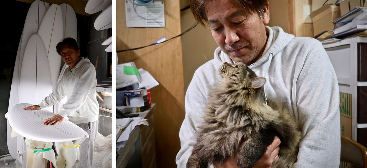Two photos of Shinji Murohara in his surfboard factory. He is dressed in a light gray hoodie and sweatpants. On the left, he is showing off a white surfboard. On the right, he is holding his cat.