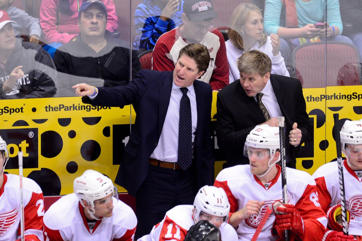Bill Peters behind the Detroit bench.