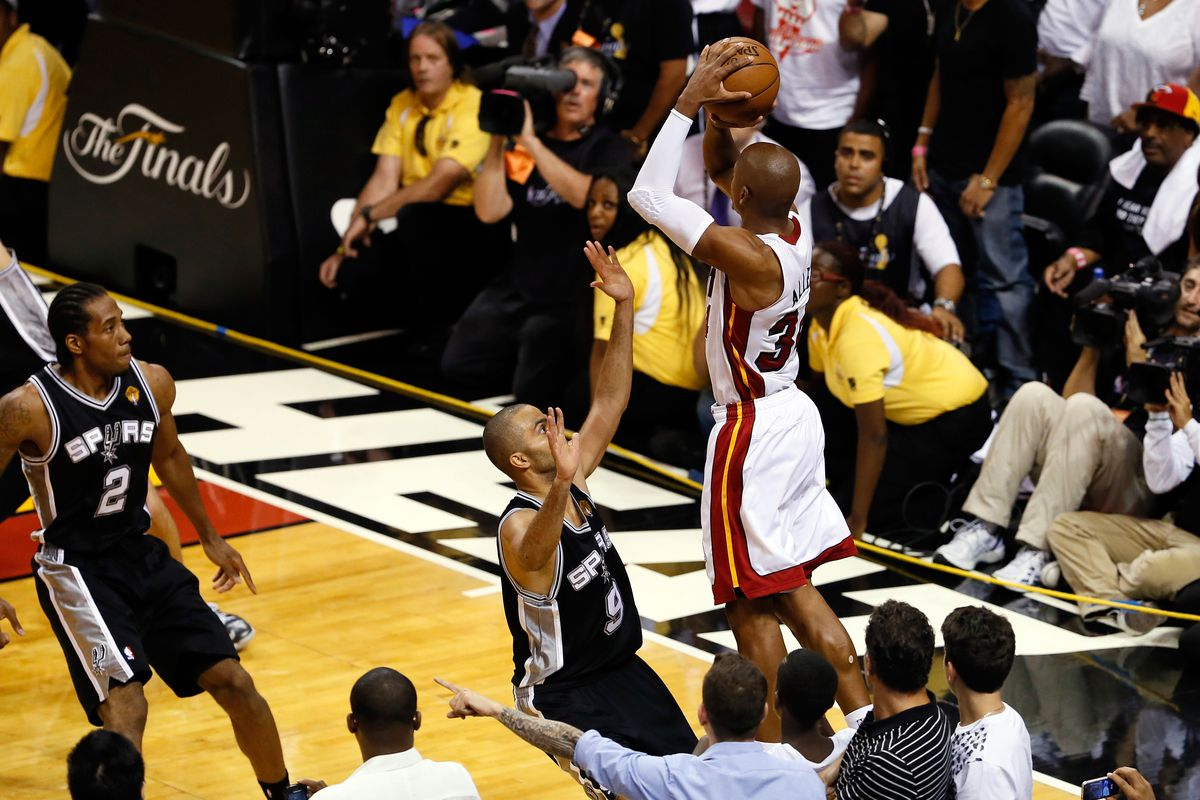 Ray Allen crushed the Nuggets hopes for a win early in the season, did the same in Game 6 to the Spurs.
