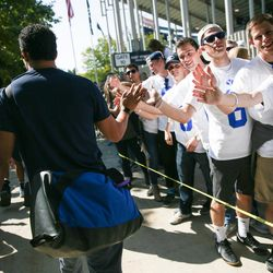 Brigham Young Cougars fans welcome the team before the game against the Wisconsin Badgers at LaVell Edwards Stadium in Provo on Saturday, Sept. 16, 2017.