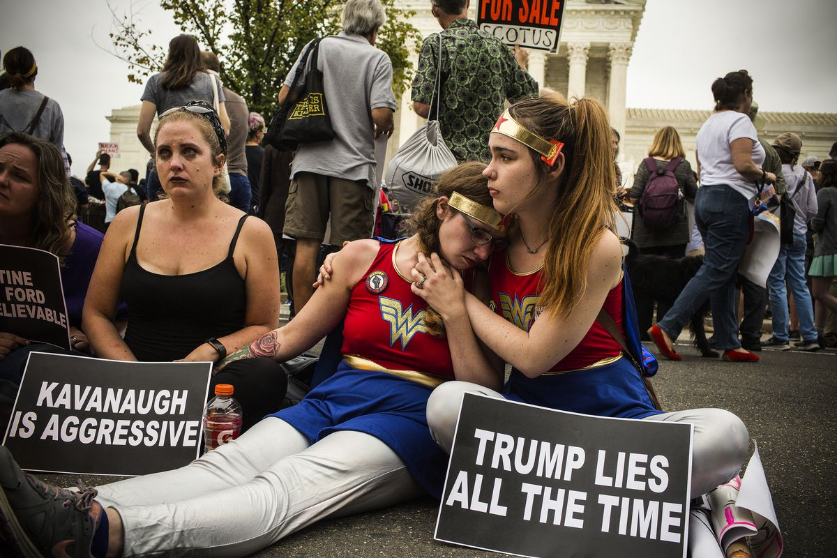 Protestors in front of the Supreme Court just after the Senate voted to confirm Judge Brett Kavanaugh.