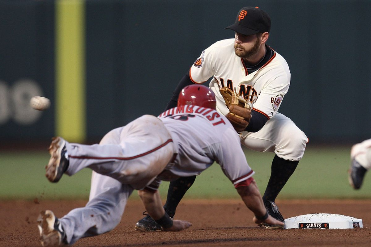 Here's Willie Bloomquist trying to steal a base. You get one guess and one guess only as to the result of the attempt.