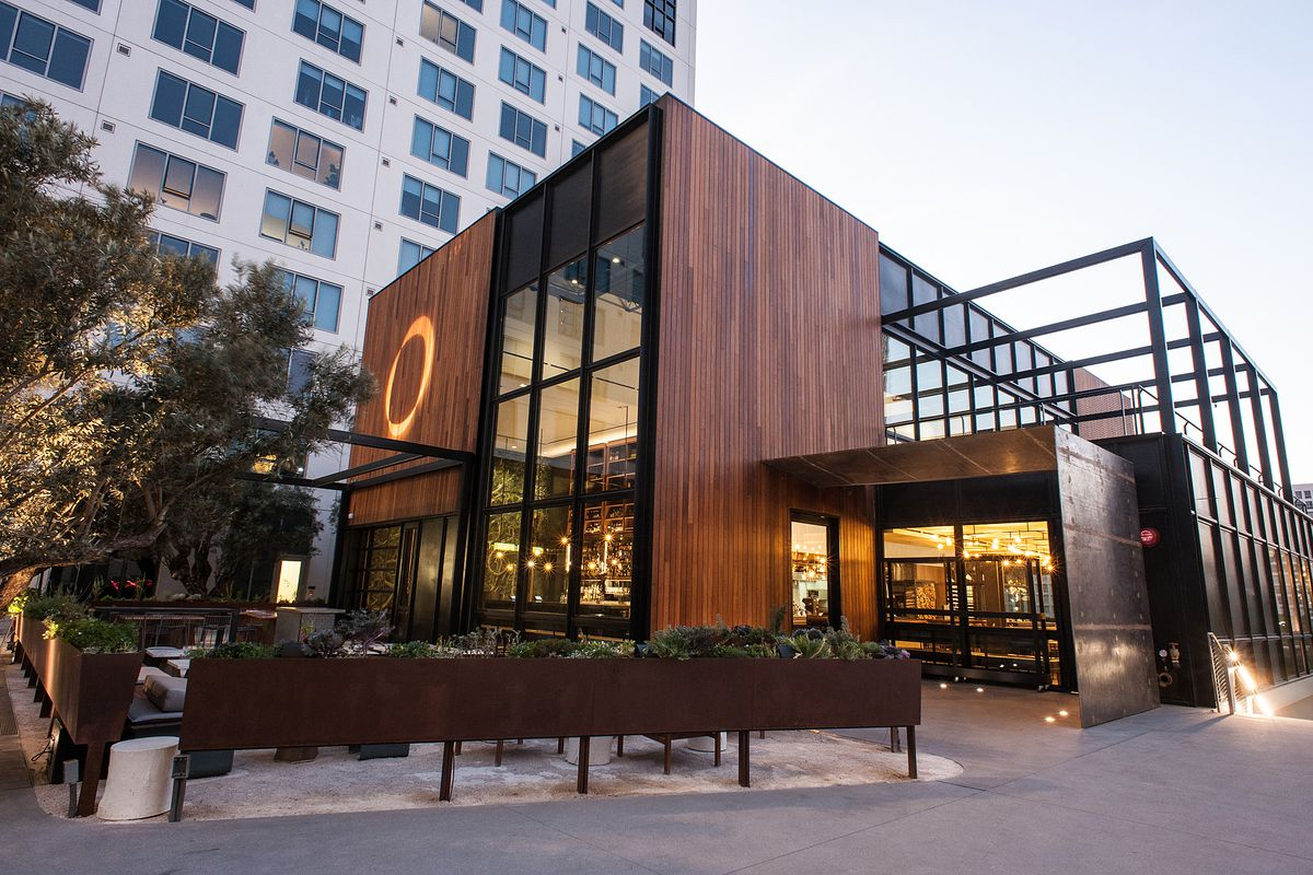 Otium, a large, glassy and steel restaurant, sits next to the Broad Museum.