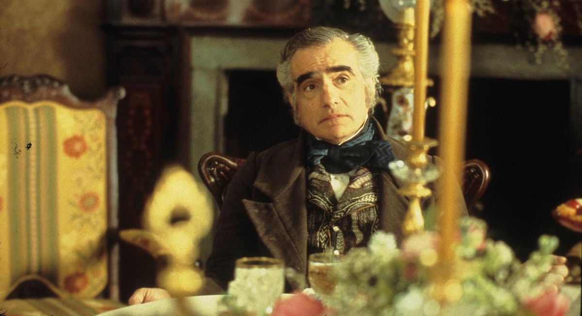 Martin Scorsese as a well-dressed man at an elaborate banquet table in Gangs of New York