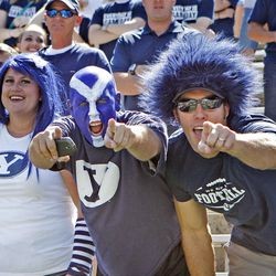 BYU fans celebrate during the first half as Brigham Young University plays Weber State University in football  Saturday, Sept. 8, 2012, in Provo, Utah.