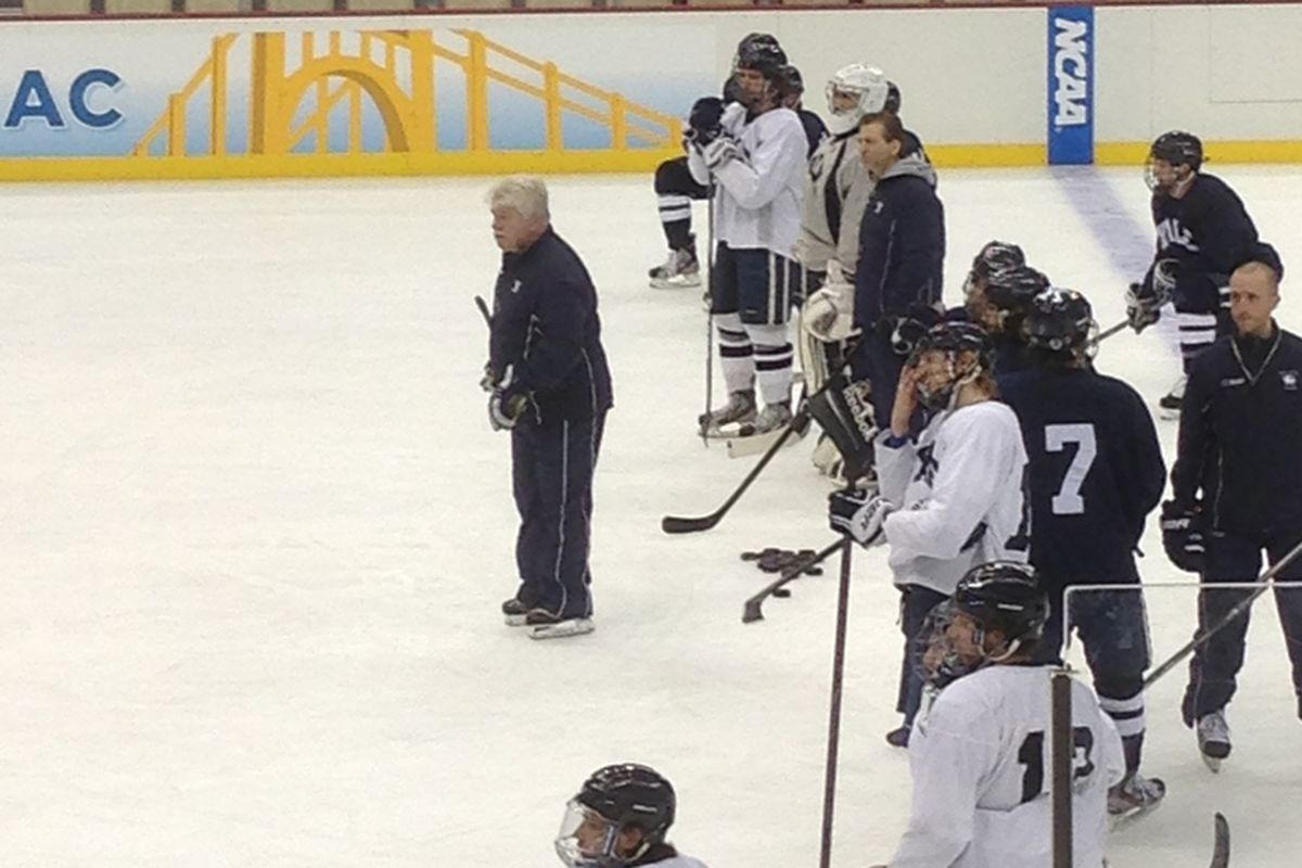 Red Gendron on the ice for Yale's Wednesday practice prior to the 2013 Frozen Four in Pittsburgh