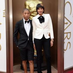 Fashion-forward Pharrell ditched his infamous hat for statement shorts.