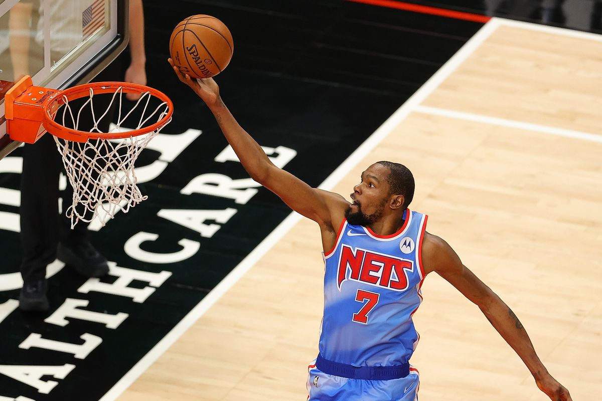 Kevin Durant of the Brooklyn Nets attacks the basket against the Atlanta Hawks during the second half at State Farm Arena on January 27, 2021 in Atlanta, Georgia.