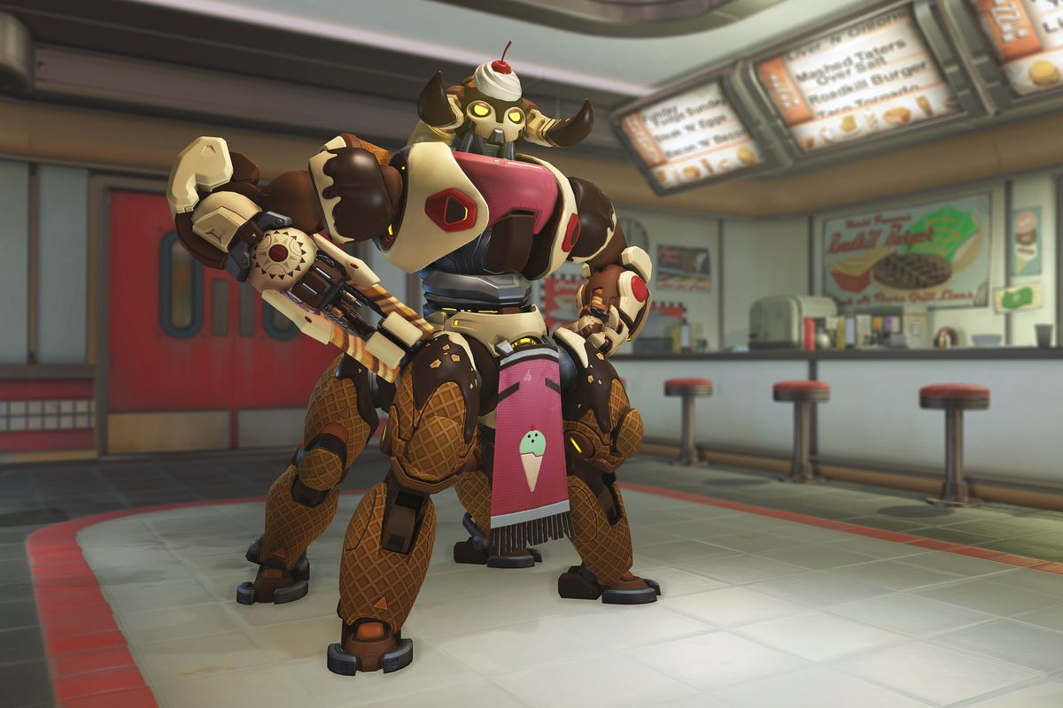 An ice cream-themed Orisa skin for Overwatch's Summer Games 2020