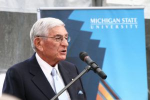 Eli Broad speaks at Michigan State University. Photo from flickr/arcticpenguin