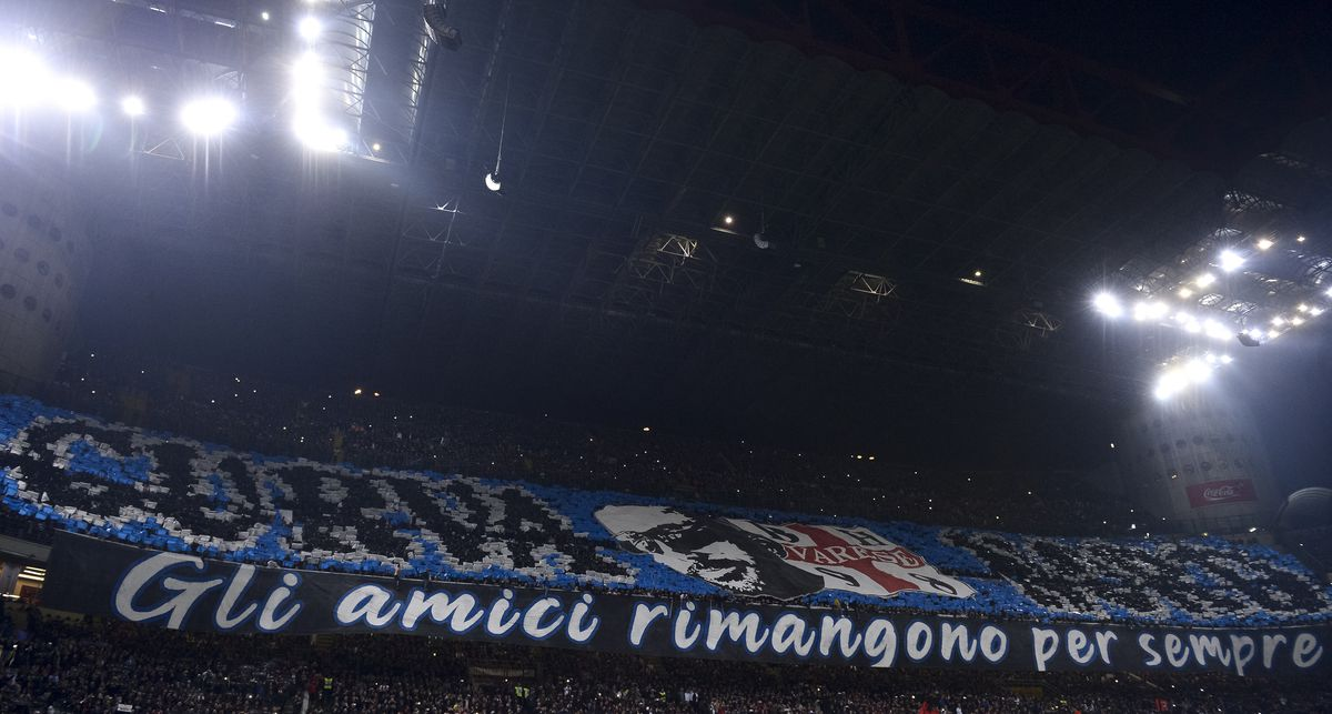 Fans of FC Internazionale perform a choreography prior to Derby win...