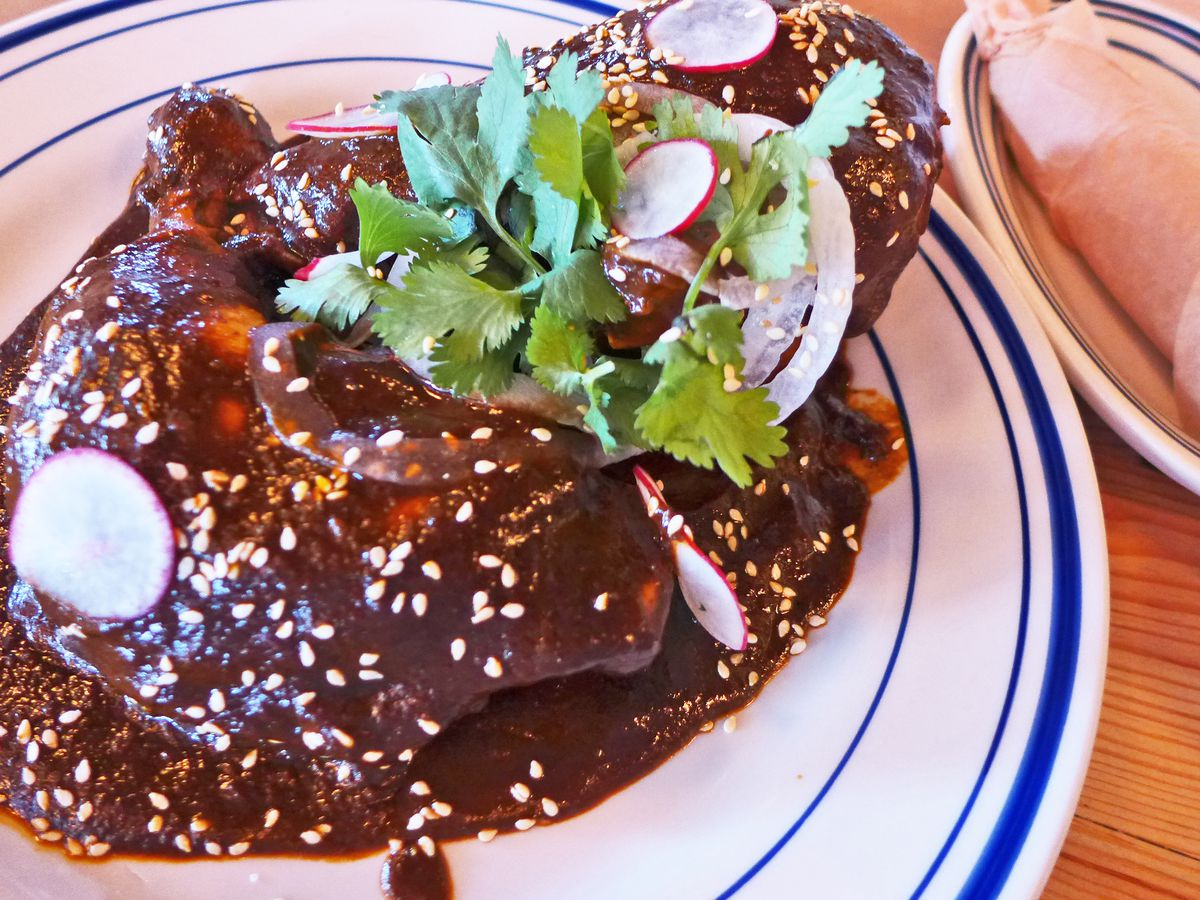 Chicken on a white plate in a very dark brown mole sauce, with tortillas rolled in a napkin on the side.