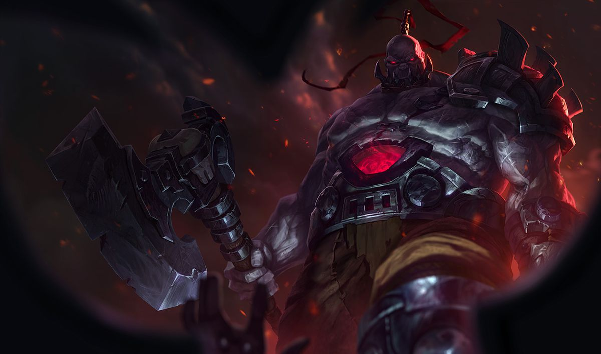 Base skin Sion stands ominously surrounded by chaos