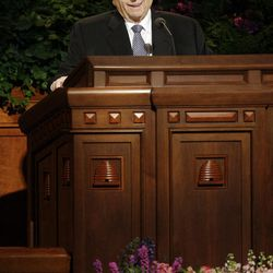 Presidents Thomas S. Monson speaks during to the 182nd Annual General Conference for The Church of Jesus Christ of Latter-day Saints in Salt Lake City  Saturday, March 31, 2012.