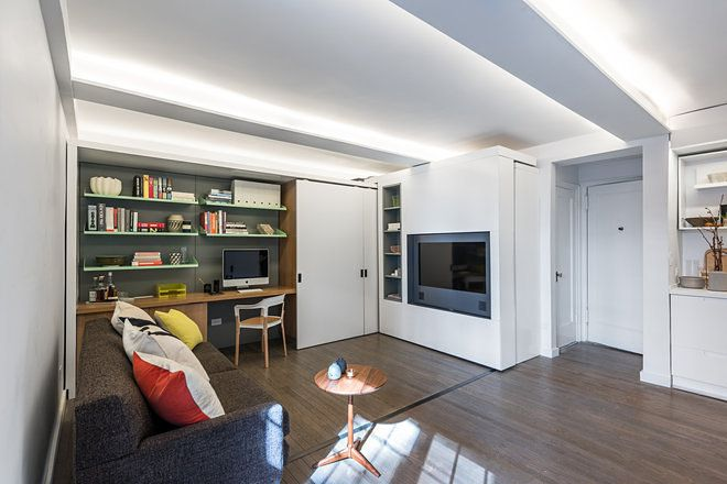 What Allows The Tiny Studio To Be All That It Is Mkca Designed Motorized Sliding Storage Element Wall Moves Across Apartment
