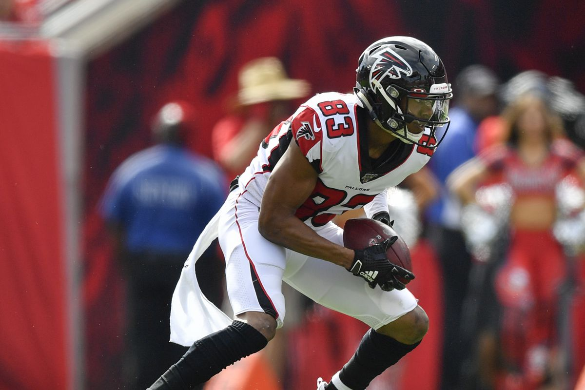 Atlanta Falcons Wide Receiver Russell Gage looks to run after a reception during the first half of an NFL game between the Atlanta Falcons and the Tampa Bay Bucs on December 29, 2019, at Raymond James Stadium in Tampa, FL.