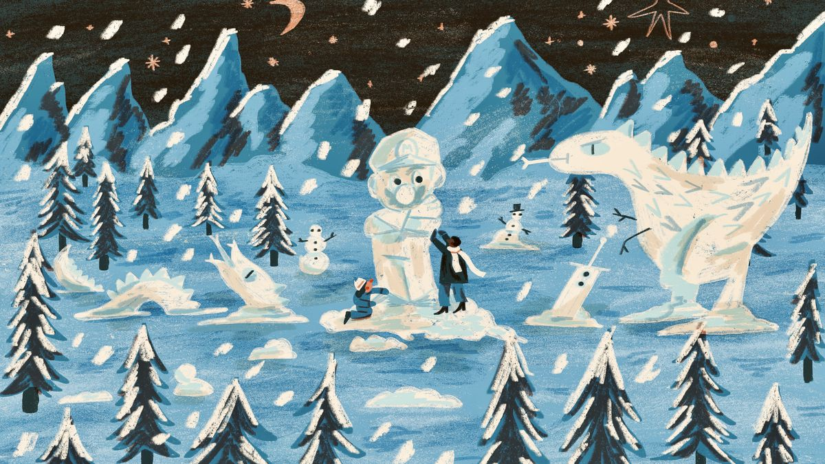 An original illustration shows various game characters in the snow
