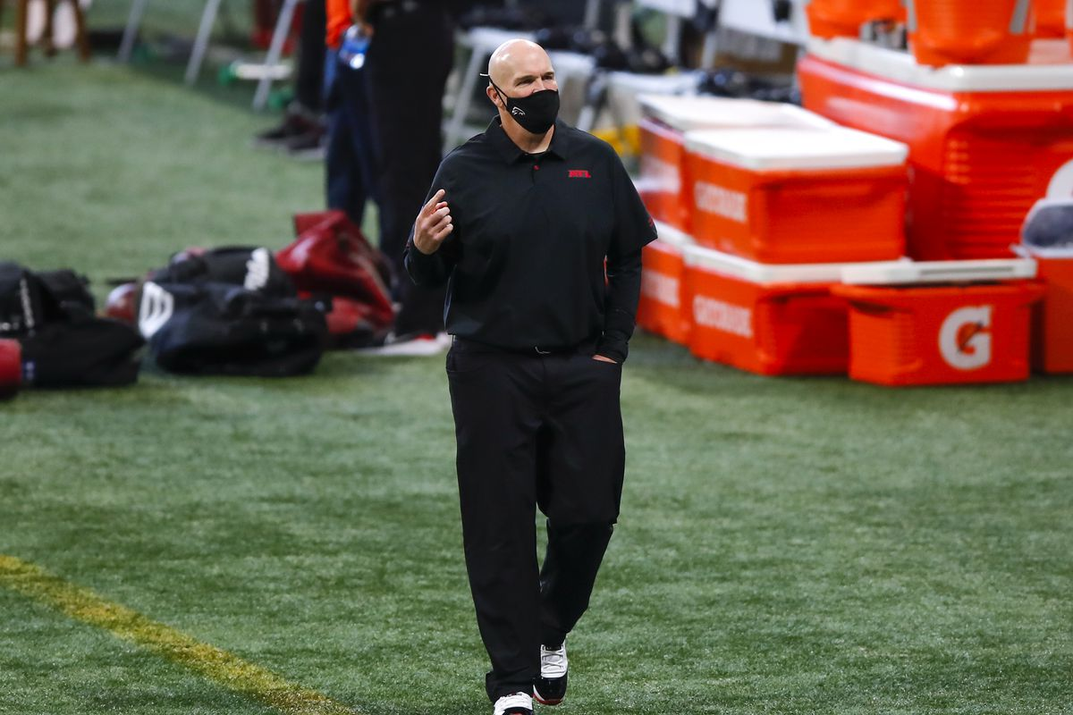 Head coach Dan Quinn of the Atlanta Falcons walks the sidelines prior to an NFL game against the Chicago Bears at Mercedes-Benz Stadium on September 27, 2020 in Atlanta, Georgia.